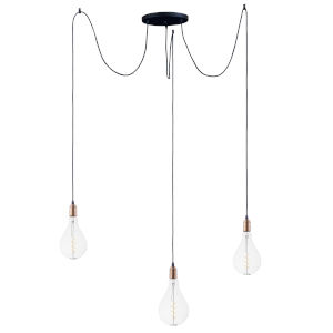 Early Electric Black and Antique Brass 12-Inch 5W Three-Light LED Pendant