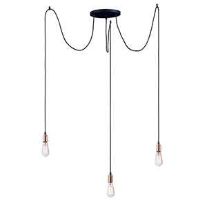 Early Electric Black and Antique Brass 11-Inch LED Pendant