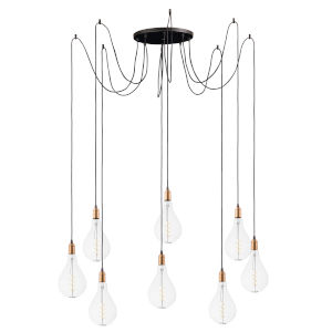 Early Electric Black and Antique Brass 16-Inch 5W Eight-Light LED Pendant