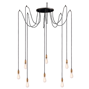 Early Electric Black and Antique Brass 15-Inch Eight-Light Pendant