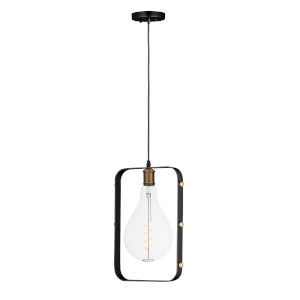 Early Electric Black and Antique Brass 11-Inch 5 Watt LED Pendant