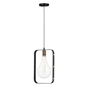 Early Electric Black and Antique Brass 11-Inch 3.5 Watt LED Pendant