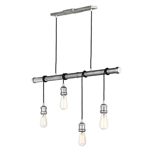 Early Electric Weathered Zinc Four-Inch Four-Light Pendant