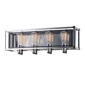 Refine Black and Polished Nickel 26-Inch Four-Light Bath Vanity
