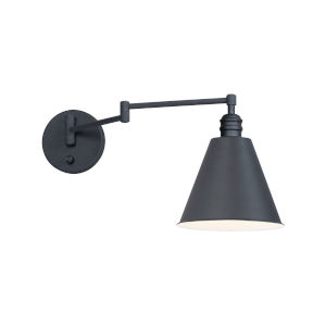 Library Black One-Light Wall Sconce Horizontal Swing Arm