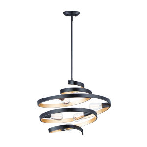 Twister Black and Gold 25-Inch Five-Light Pendant