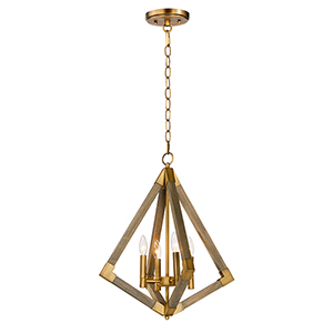 Vector Weathered Oak and Antique Brass Four-Light 19-Inch Adjustable Pendant