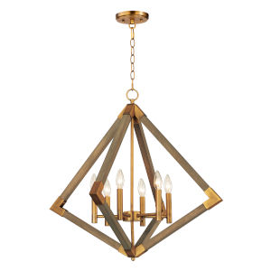 Vector Weathered Oak and Antique Brass Six-Light Pendant