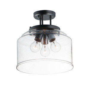 Acadia Black Three-Light Semi-Flush Mount
