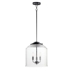 Acadia Black Three-Light Convertible Pendant