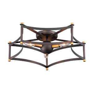 Wellington Oil Rubbed Bronze and Antique Brass 20-Inch Three-Light Adjustable Flush Mount