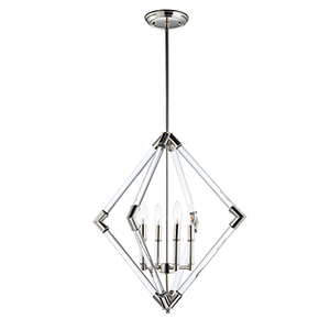 Lucent Polished Nickel 24-Inch Four-Light Pendant