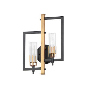 Flambeau Black and Antique Brass Two-Light ADA Wall Sconce