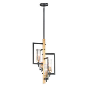 Flambeau Black and Antique Brass Four-Light Pendant