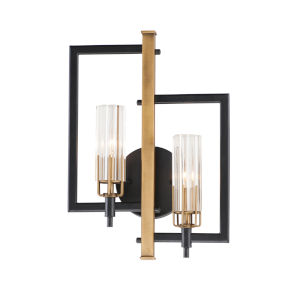 Flambeau Black and Antique Brass Two-Light ADA Bath Vanity