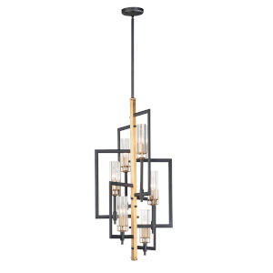 Flambeau Black and Antique Brass Six-Light Chandelier