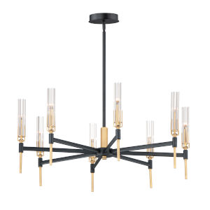 Flambeau Black and Antique Brass Eight-Light LED Pendant