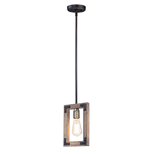 Lodge Weathered Oak and Bronze One-Light Adjustable Mini Pendant