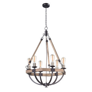 Lodge Weathered Oak and Bronze 24-Inch Six-Light Adjustable Chandelier