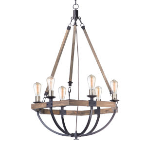 Lodge Weathered Oak and Bronze 29-Inch Six-Light Adjustable Chandelier
