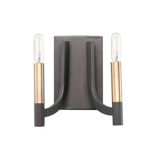 Lyndon Bronze and Antique Brass Two-Light Bath Vanity