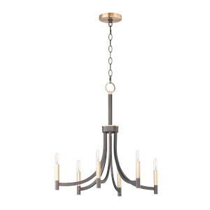 Lyndon Bronze and Antique Brass Six-Light Chandelier