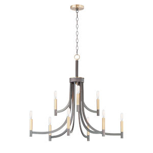 Lyndon Bronze and Antique Brass Nine-Light LED Chandelier