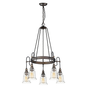 Revival Oil Rubbed Bronze Five-Light Adjustable Chandelier