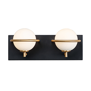 Revolve Black and Gold Two-Light LED Wall Sconce