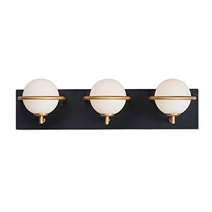 Revolve Black and Gold Three-Light LED Wall Sconce