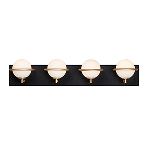 Revolve Black and Gold Four-Light LED Wall Sconce