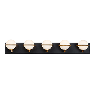 Revolve Black and Gold Five-Light LED Wall Sconce