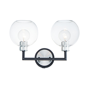 Vessel Black and Brushed Aluminum Two-Light Wall Sconce