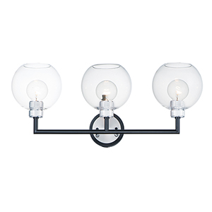 Vessel Black and Brushed Aluminum Three-Light Wall Sconce