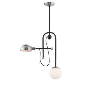 Mingle Black and Satin Nickel Six-Inch Two-Light LED Adjustable Pendant