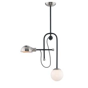 Mingle Black and Satin Nickel Six-Inch Two-Light LED Adjustable Pendant