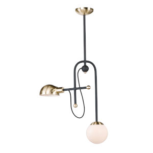 Mingle Bronze and Satin Brass Six-Inch Two-Light LED Adjustable Pendant