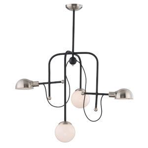 Mingle Black and Satin Nickel 21-Inch Four-Light LED Adjustable Chandelier