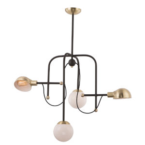 Mingle Bronze and Satin Brass 21-Inch Four-Light LED Adjustable Chandelier