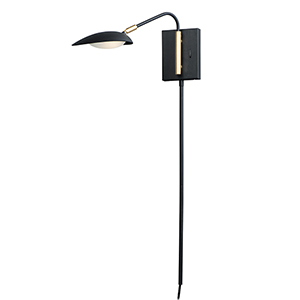 Scan Black and Satin Brass Integrated LED Wall Sconce