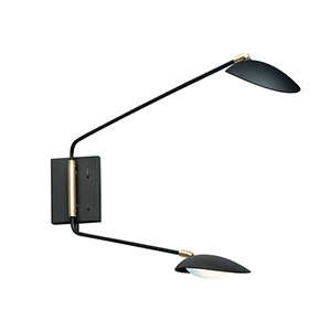 Scan Black and Satin Brass Two-Light Integrated LED Wall Sconce