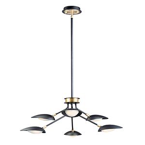 Scan Black and Satin Brass Six-Light Integrated LED Adjustable Pendant
