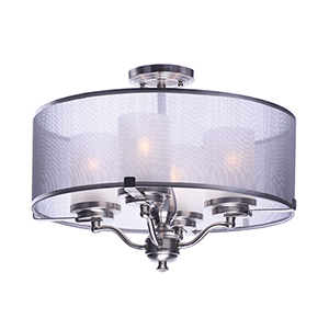 Lucid Satin Nickel 18-Inch Four-Light Semi-Flush Mount