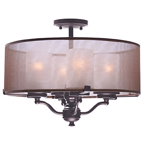 Lucid Oil Rubbed Bronze 18-Inch Four-Light Semi-Flush Mount