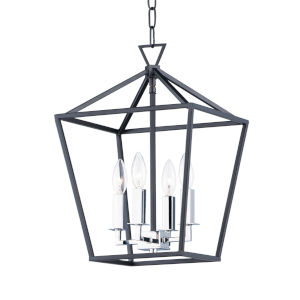 Abode Textured Black and Polished Nickel Four-Light Chandelier