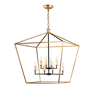 Abode Gold Leaf and Textured Black Eight-Light Adjustable Chandelier