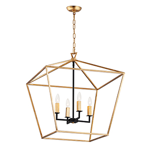 Abode Gold Leaf and Textured Black Four-Light Adjustable Chandelier