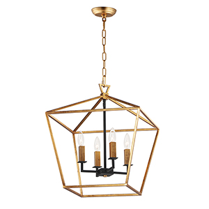 Abode Gold Leaf and Textured Black Four-Light 18-Inch Adjustable Chandelier