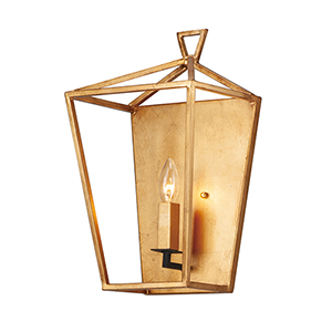 Abode Gold Leaf and Textured Black One-Light Wall Sconce