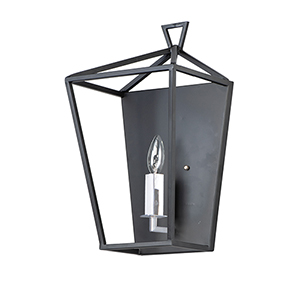 Abode Textured Black and Polished Nickel One-Light Wall Sconce